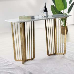 Fastro White Marble Console Table With Gold Stainless Steel Legs
