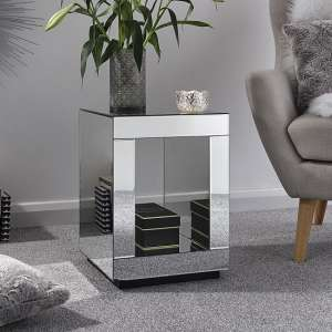 Fausto Mirrored Square Lamp Table With Undershelf