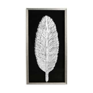 Feather Painting Wooden Wall Art In Antique Silver Frame