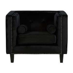 Felisen Velvet Upholstered Armchair In Black