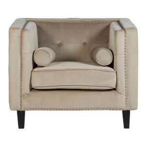 Felisen Velvet Upholstered Armchair In Mink