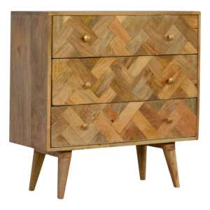 Felix Wooden Chest Of Drawers In Oak Ish With 3 Drawers