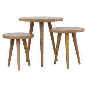 Felix Wooden Set Of 3 Nesting Tables In Natural Oak Ish