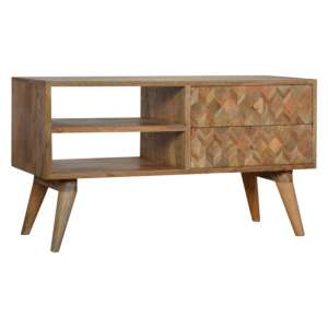 Felix Wooden TV Stand In Oak Ish With 2 Drawers And 2 Open Slots
