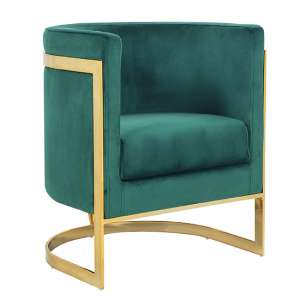 Fenda Velvet Armchair In Green With Gold Stainless Steel Legs