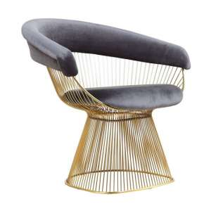 Fenda Velvet Armchair In Grey With Gold Steel Legs