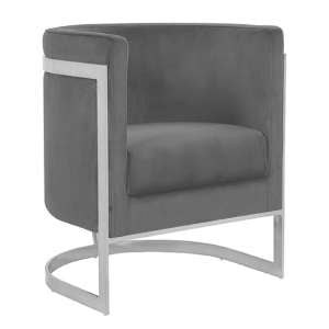 Fenda Velvet Armchair In Grey With Silver Stainless Steel Legs