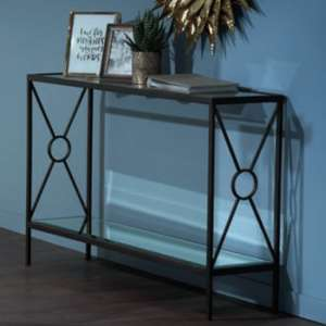 Fenwick Glass Console Table In Clear With Brown Metal Frame