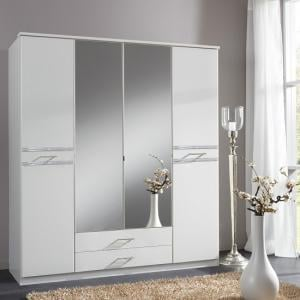 Ferito Mirrored Wardrobe In Alpine White With Crystal And 4 Door