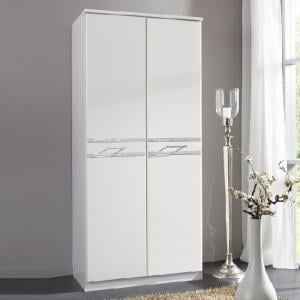 Ferito Wardrobe In Alpine White With Crystals And 2 Doors