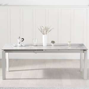 Fern Extendable Dining Table In White Spanish Marble Effect
