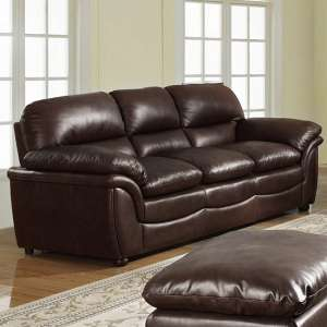 Fernando Full Bonded Leather 3 Seater Sofa In Brown