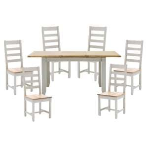 Ferndale Extending Large Dining Table With 6 Ladder Back Chairs