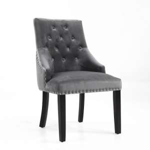Ferris Accent Chair In Brushed Velvet Grey With Wooden Legs