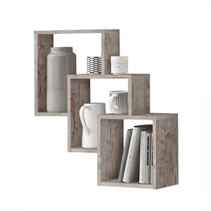 Fibi Trio Wooden Wall Mounted Display Shelves In Sand Oak