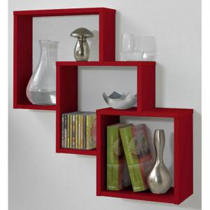 Fibi Trio Wooden Wall Shelf  in Red