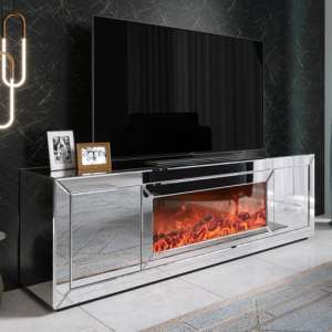 Fibramu Mirrored Wooden TV Stand In Grey