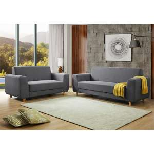 Fida Fabric 2 Seater And 3 Seater Sofa Suite In Dark Grey