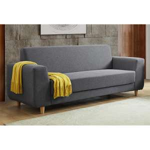 Fida Fabric 3 Seater Sofa In Dark Grey