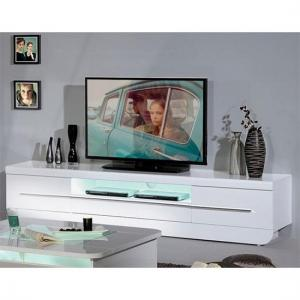 Fiesta LCD TV Stand in High Gloss White With LED Light