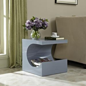 Figure Modern Side Table In Grey High Gloss