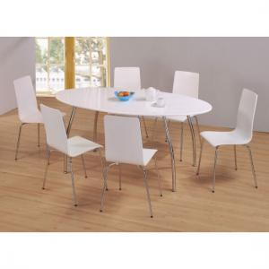 Fiji High Gloss Oval Dining Set With 6 Dining Chairs