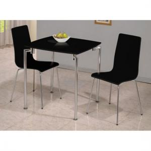 Fiji High Gloss Small Dining Set in Black