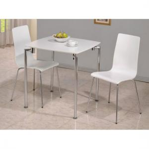 Fiji High Gloss Small Dining Set in White