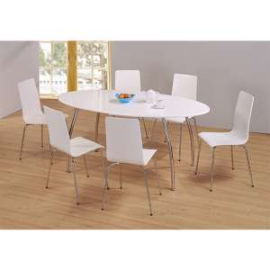 Fiji Oval Wooden Dining Set In White High Gloss With 6 Chairs