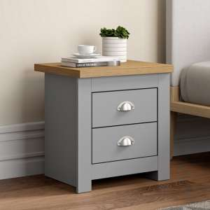 Fiona Wooden Bedside Cabinet In Grey And Oak With 2 Drawers