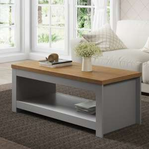 Fiona Wooden Coffee Table Rectangular In Grey And Oak