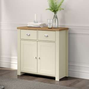 Fiona Wooden Compact Sideboard In Cream And Oak With 2 Doors