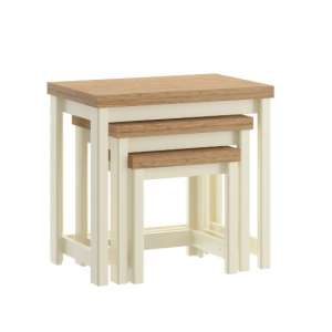 Fiona Wooden Nest of 3 Tables In Cream And Oak