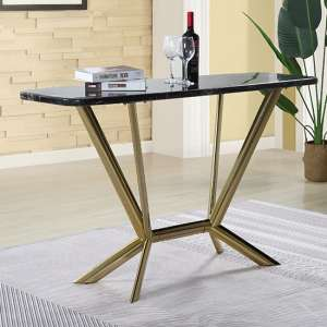 Firenze Black Marble Console Table With Gold Steel Legs