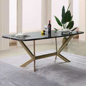 Firenze Black Marble Dining Table With Gold Stainless Steel Legs
