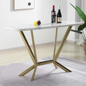 Firenze White Marble Console Table With Gold Steel Legs