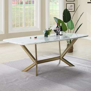 Firenze White Marble Dining Table With Gold Stainless Steel Legs