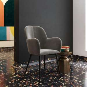 Fitz Velvet Bedroom Chair In Grey
