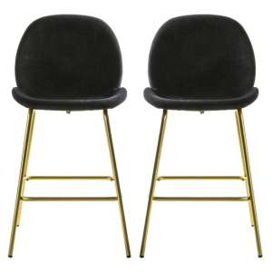 Flanaven Black Velvet Upholstered Bar Stools In Pair