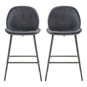 Flanaven Dark Grey Velvet Upholstered Bar Stools In Pair