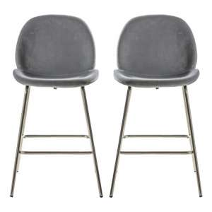 Flanaven Light Grey Velvet Upholstered Bar Stools In Pair