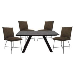 Flavia Extending Glass Dining Table With 4 Lukas Brown Chairs