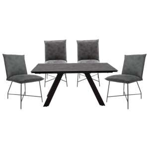 Flavia Extending Glass Dining Table With 4 Lukas Grey Chairs