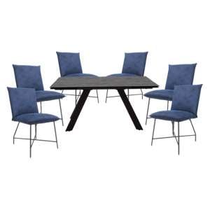 Flavia Extending Glass Dining Table With 6 Lukas Blue Chairs