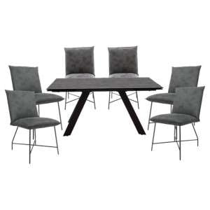 Flavia Extending Glass Dining Table With 6 Lukas Grey Chairs