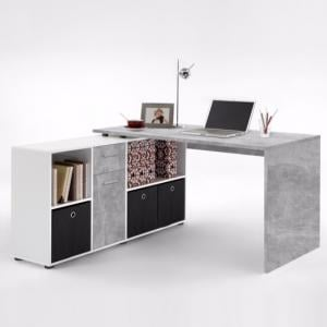 Flexi Modern Corner Computer Desk In Atelier And White