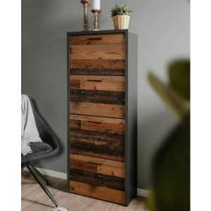 Flexo 4 Doors Shoe Storage Cabinet In Old Style And Anthracite