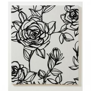 Flocked Rose Fabric Canvas