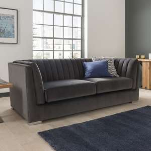 Flores Fabric 2 Seater Sofa In Charcoal Velvet With Chrome Legs