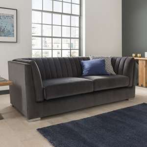 Flores Fabric 3 Seater Sofa In Charcoal Velvet With Chrome Legs